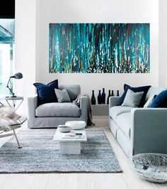 Turquoise painting Abstract painting Original by QiQiGallery