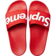 FEET: Supreme Sandals. A custom molded footbed and fabric backing on the strap. Available in red or black.