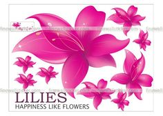 Pink Lilies In Bloom Wall Sticker Flower Wall Stickers, Pink Lily, Lilies, Pretty In Pink, Bloom, Flowers, Design, Irises, Rose Lily