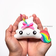 MADE TO ORDER – Unicorn Poop Cute Kawaii Plush Keychain