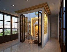 Location of pooja room is important to make it Vastu compliant. The best direction to build the pooj. - homify / JM: The Design Consultant Pooja Room Door Design, Home Room Design, Home Interior Design, Living Room Designs, House Design, Temple Room, Home Temple, Temple Design For Home, Bungalow Haus Design
