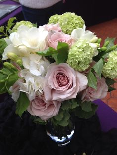 Pale pink, white and green bouquet by Jen's Blosssoms