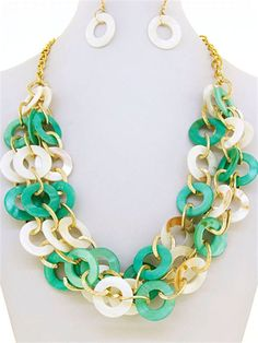 Trendy 3 Layers Mother of Pearl Circles  Mint Green Cream  Fashion Necklace Set  #FashionJewelry