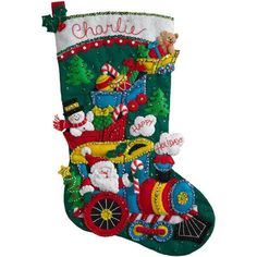 "Choo Choo Santa Stocking Felt Applique Kit - 18"" Long"