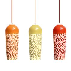 Handmade porcelain textured and glazed pendant lights in tons of colors.