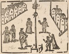 Pipe and tabor player by the maypole, from The Plow-man's Reply, 1666, Douce Ballads