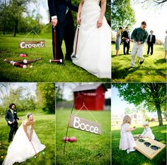 TREND...relaxed & fun backyard weddings! How about considering setting up croquet, bocce ball, or horseshoes for your guests to enjoy?? Great idea!!! A Joyce's Bridal favorite idea!!