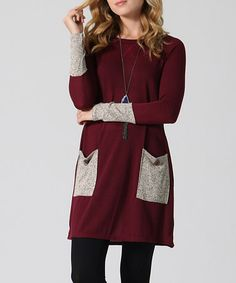 Love this Burgundy & Gray Semisheer Contrast Scoop Neck Tunic - Plus on #zulily! #zulilyfinds