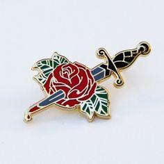 Bleeding rose enamel pin