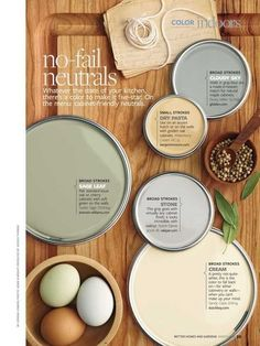 Neutral Paint Colors - Interiors By Color   The green for cabinets, the cream for the walls?