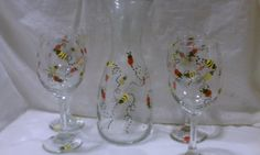 Wine Carafe and Four Hand Painted Wine Glasses, Ladybugs and Bees