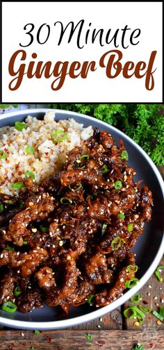 Thinly sliced beef, fried until crispy, and coated in a garlic and ginger sauce; 30 Minute Ginger Beef is an expensive dinner the whole family will love! Asian Recipes, Healthy Recipes, Ground Beef Recipes Asian, Chinese Beef Recipes, Crispy Beef Chinese, Recipes With Ginger, Chinese Food, Chinese Beef Dishes, Recipe Ginger