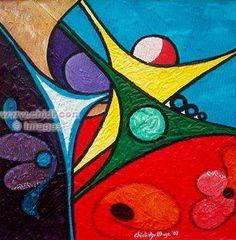 ABSTRACT ART | Joyful Stars1 by Chidi okoye | Abstract Art Print