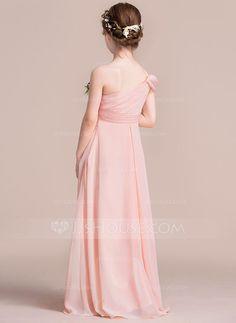 A-Line Princess One-Shoulder Floor-Length Ruffle Zipper Up at Side  Spaghetti Straps Sleeveless No Pearl Pink General Chiffon Junior Bridesmaid  Dress 195798ff342e