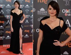 Penelope Cruz attended the 2017 Goya Awards on Saturday (Feb 4, 2017) and donned a custom-made Atelier Versace gown with a crystal-accented bustier and a slit up to the thigh