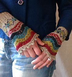 Work through the basics of stranded and lace knitting to create these Shetland inspired fingerless gloves