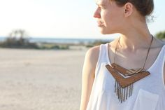 Wood Chevron and Chain necklace, knobbly on etsy