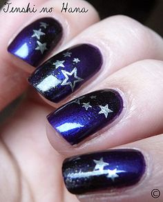 Blue and Silver Star Nail