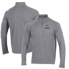 UConn Huskies Under Armour Small School Charged Cotton Quarter-Zip Jacket – Heathered Gray