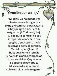 Por un hijo Posted August 2017 Son Quotes, Prayer Quotes, Mother Quotes, Bible Quotes, Bible Verses, Christ Quotes, Scriptures, Mom Prayers, Catholic Prayers