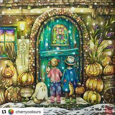 Halloween chegando! #Repost @cherrycolours with @repostapp #Halloweenillustration  #romanticcountry ️#romanticcountrycoloringbook #eriy #prismacolor #coloringbook  #triplusfineliner #halloween