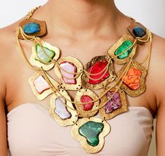 SALE Makeda Bib - Summer Necklace - Large High Fashion Gold-Tone Leather and Multi Color Stone Statement Bib Necklace