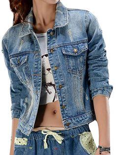 3cadd13fe5eee3 ARRIVE GUIDE Womens Classic Ripped Holes Button Down Lapel Denim Jackets  Denim Blue Medium Jeans Denim