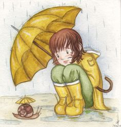 illustration - girl with a yellow umbrella watching snail with umbrella; Maiwenn