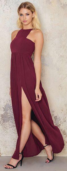 Burgundy maxi dress by NA-KD