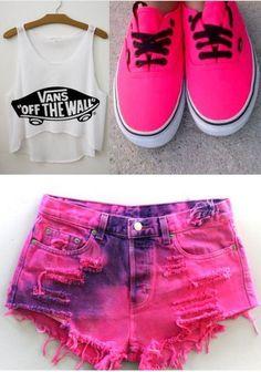 shoes pink hot pink vans summer sexy cute shorts shirt Visual Kei fb6760a41cc