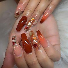Fall Acrylic Nails, Acrylic Nail Designs, Nail Art Designs, Nails Design, Burgundy Acrylic Nails, Burgundy Nail Designs, Halloween Acrylic Nails, Orange Nail Designs, Gorgeous Nails