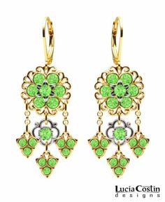 Feminine Chandelier Flower Earrings Designed by Lucia Costin Crafted in 24K Yellow Gold over .925 Sterling Silver with Light Green Swarovski Crystals and Lace Elements, Ornate with 3 Fancy Charms Lucia Costin. $78.00. Floral design accompanied by cute details. Decorated with peridot Swarovski crystals. Unique jewelry handmade in USA. Floral earrings amazingly designed by Lucia Costin. Update your everyday style with inspiration when wearing this piece of jewelry