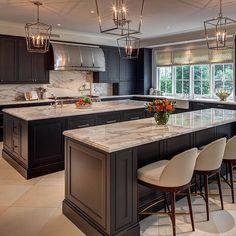 "Interior Design Ideas – ""Double Island Kitchen"" (Darlana Pendant Lighting) - All About Decoration Modern Farmhouse Kitchens, Rustic Kitchen, New Kitchen, Kitchen Decor, Kitchen Ideas, Kitchen Time, Kitchen Small, Rustic Farmhouse, Gold Kitchen"