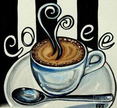 Paintings of Cafe Coffee | Coffee At The Cafe by Elizabeth Robinette Tyndall