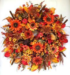 Fall Wreath Thanksgiving Wreath-Fall by SeasonalWreaths on Etsy