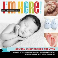 I'm Here: Powder Blue - Boy Photo Birth Announcements in Powder Blue | Hello Little One