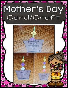 Mother's Day Craft FreebieDownload for instructions. May Themes, Unit Plan, Mothers Day Crafts, Interactive Notebooks, Task Cards, Math Centers, Lesson Plans, Teaching Resources, Art Ideas