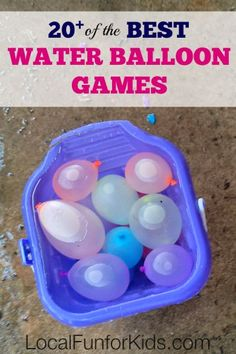 20 of the BEST Water Balloon Games The past couple of years, I have written about Water Balloon Games for Kids , and this year I'm putting together my best list yet! Whether you need a water balloon game for summer camp, field day or just a lazy summer da Balloon Games For Kids, Water Balloon Games, Water Games For Kids, Camping Games For Kids, Relay Games For Kids, Outside Games For Kids, Balloon Ideas, Water Games Outside, Party Games For Girls