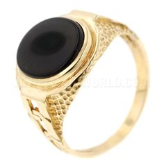 Onyx 9ct Gold Links Oval Signet Ring