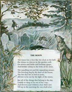 The Moon from A Child's Garden of Verses by Robert Louis Stevenson, Illustrated by Tasha Tudor Nursery Rhymes Poems, Garden Poems, Kids Poems, Children's Book Illustration, Tudor, Pretty Pictures, Star Wars, Childrens Books, Illustrators