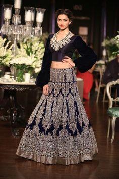Delhi Couture Week 2013: Manish Malhotra deepika padukone black silver lengha