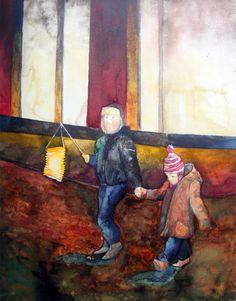 13. Rostocker Lichtwoche | Mitten in der City – Aquarell von Frank Koebsch mit einem Laternenmotiv ©