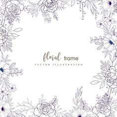 Hand drawn floral frame PNG and Vector Frame Floral, Flower Frame, Happy Birthday Floral, Corona Floral, Floral Wreath Watercolor, Floral Drawing, Free Hand Drawing, Hand Drawn Flowers, Floral Border