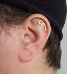 Gold Spiral Cartilage Earring Helix Ear Piercing Stud Gift For Her