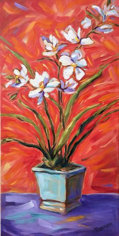 "White Orchids Still life original oil painting on canvas 12"" x 24"",  Laurie Rubinetti, orange, purple, impressionist, colorist, by LaurieRubinettiArt on Etsy"
