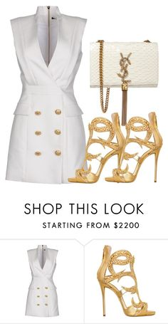 """WHITE x GOLD"" by samstyles001 on Polyvore featuring Balmain, Giuseppe Zanotti and Yves Saint Laurent"