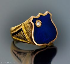 Antique Russian gold and enamel signet mens ring