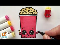 How to draw shopkins drawings - easy drawing for girls. Shopkins Drawings, Hdd, Easy Drawings, Popcorn, Drawing Ideas, Kawaii, Activities, Cute, Ideas For Drawing