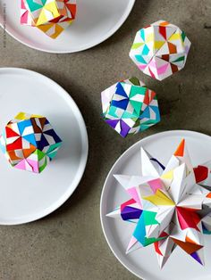 Origami decorations on table or ornaments
