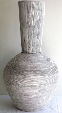 Classic shapes: Tall, sgraffito: An imposing statement piece with sgraffito lines. 82cm tall, 43cm wide. To order. - Louise Gelderblom